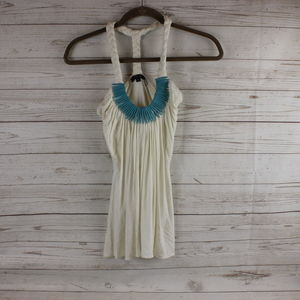 Sky Brand S Halter Top Turquoise Wood Bead Accent